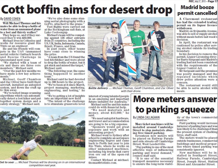 Article in the Post, 27th July 2013