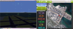 Screenshot of the Flight Simulator (left) with the Mission Planning Software used the control the Autopilot (right)