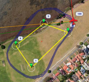 Waypoint radius = 15m, a lot of overshoot