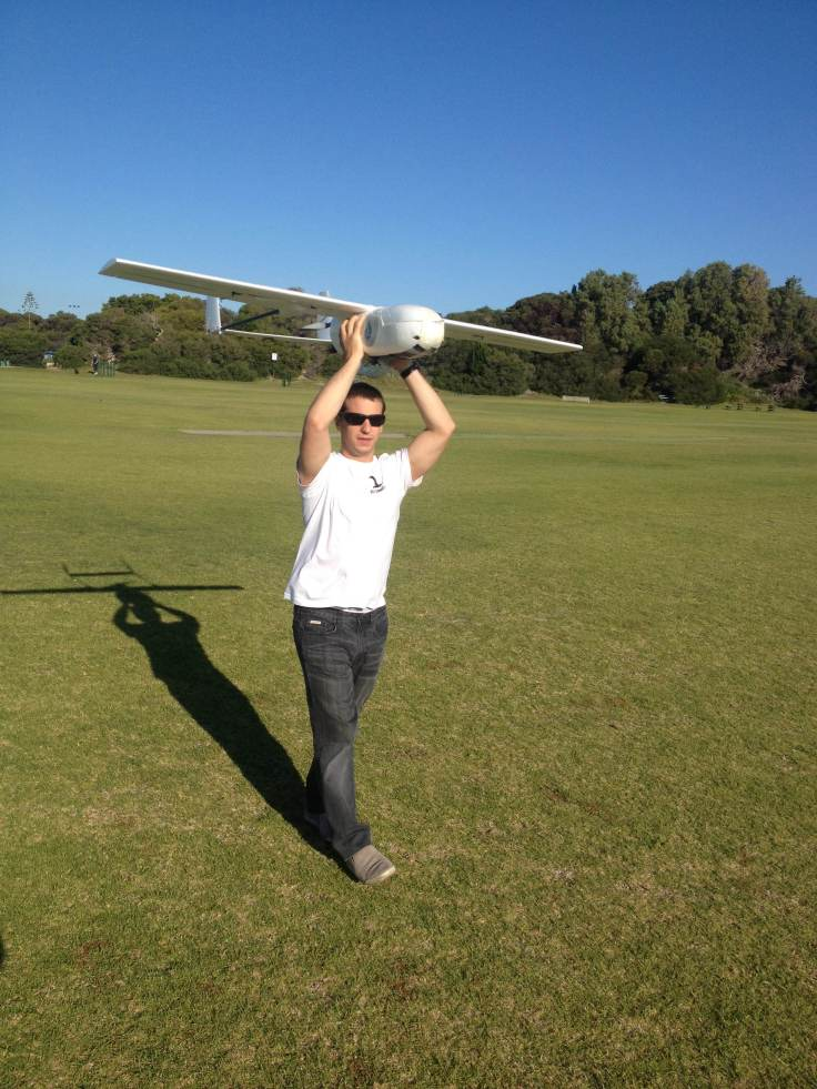 Geoff launching the UAV