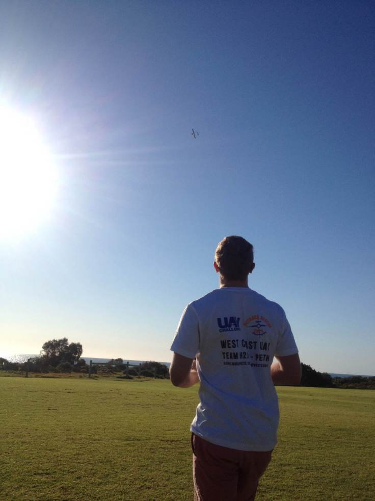 Mike flying the UAV in Fly-by-wire mode before switching to Auto mode