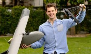 Dan and his drone that has successfully docked to a drogue being dragged behind another drone